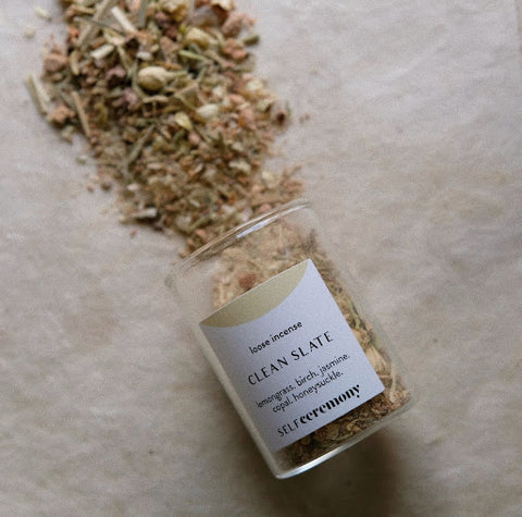 loose incense. copal incense. cleansing with incense. smudging. self ceremony clean slate.