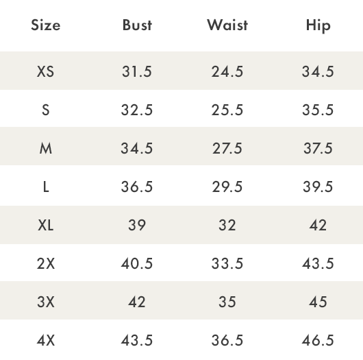 Size Chart - Dreamers By Debut