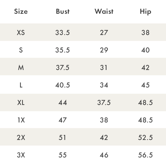 Size Chart - PJ Couture