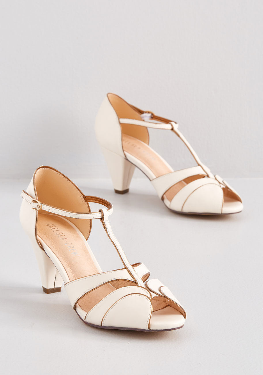 1950s Style Clothing & Fashion Chelsea Crew Why Certainly T-Strap Heels in Bone Size 41 $70.00 AT vintagedancer.com