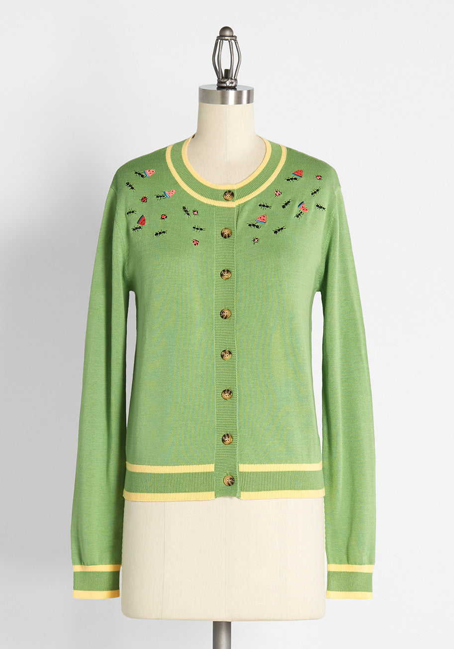 60s Shirts, T-shirts, Blouses, Hippie Shirts ModCloth Uninvited Picnic Pleas-ant-tries Embroidered Cardigan in Leafy Green Size XL $69.00 AT vintagedancer.com