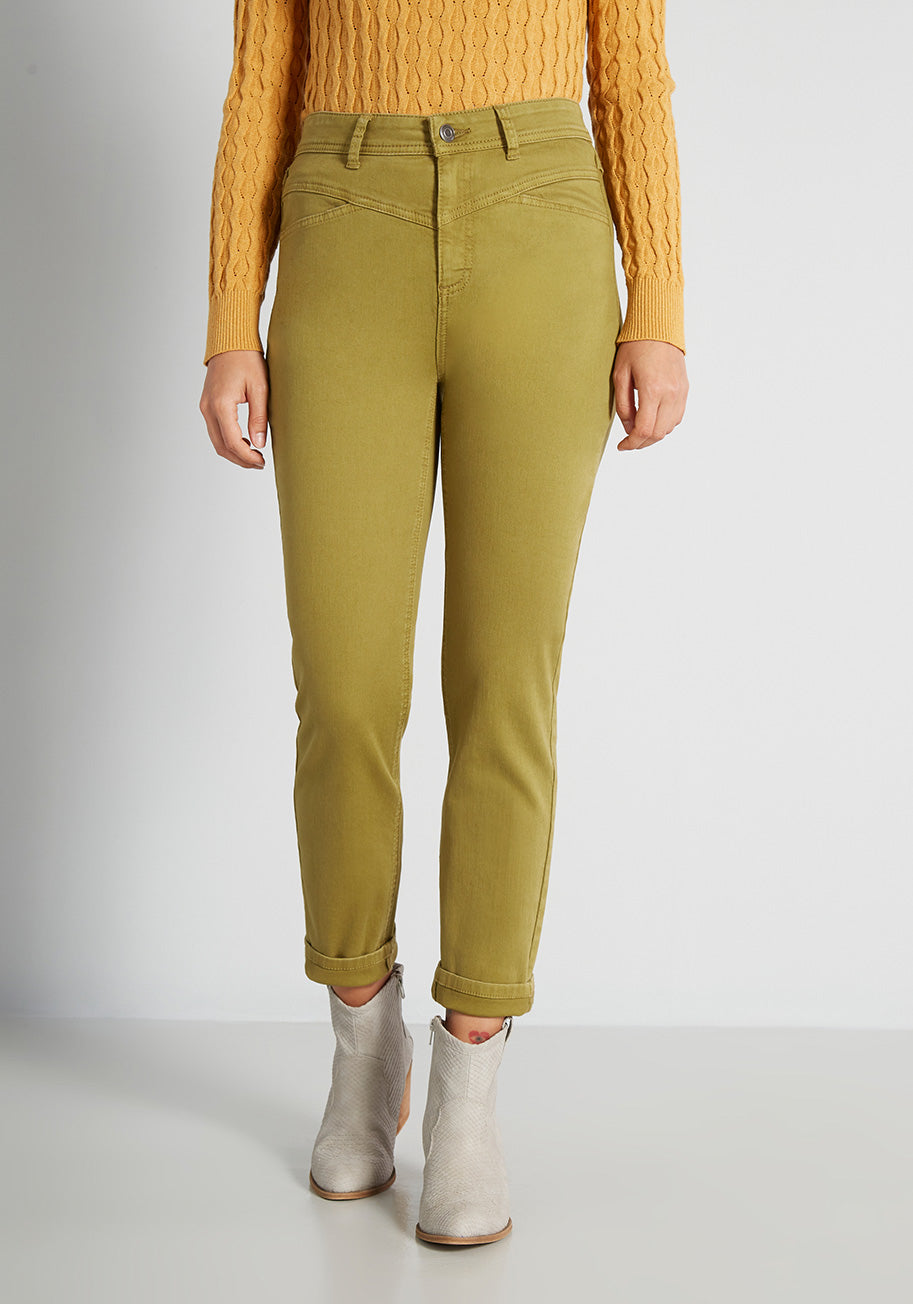 1980s Clothing, Fashion   80s Style Clothes ModCloth 80s Directors Cut Skinny Jeans in Green Size 20W $49.99 AT vintagedancer.com