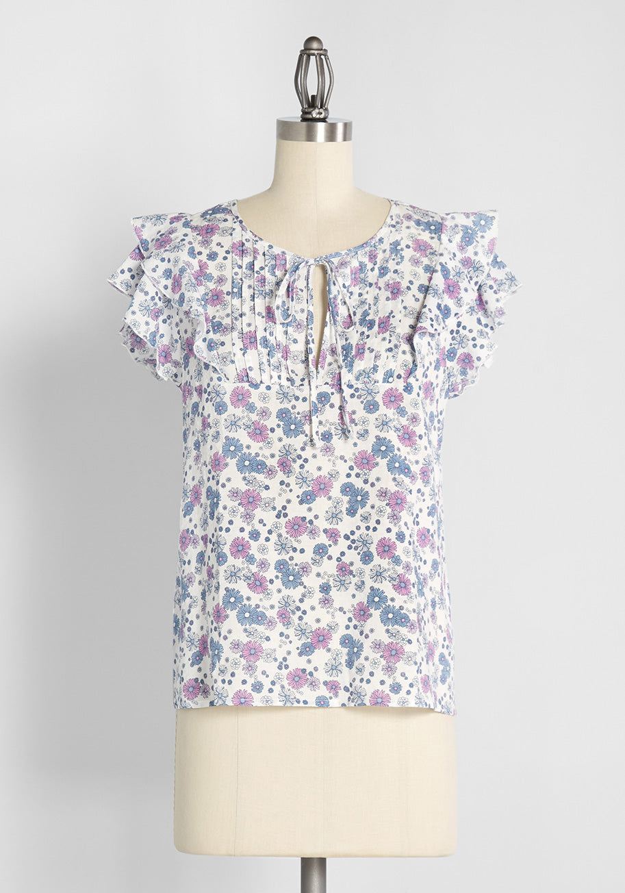 1930s Style Blouses, Shirts, Tops   Vintage Blouses ModCloth Fluttering Daisies Tie-Neck Blouse in White Floral Size 4X $59.00 AT vintagedancer.com