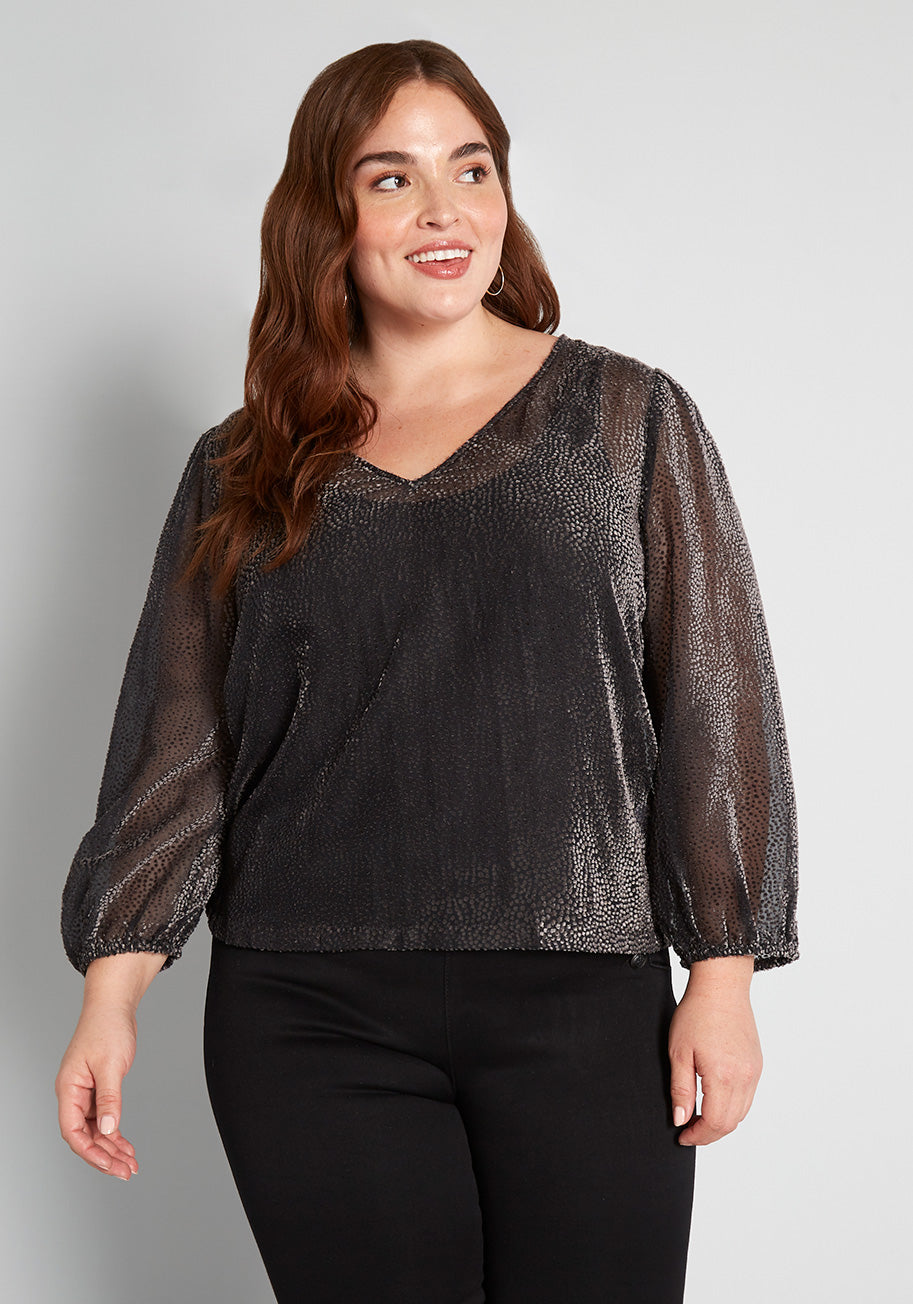 70s Plus Size Costumes | Hippie, Disco ModCloth New Sheers Eve Top in Grey Size 4X $55.00 AT vintagedancer.com