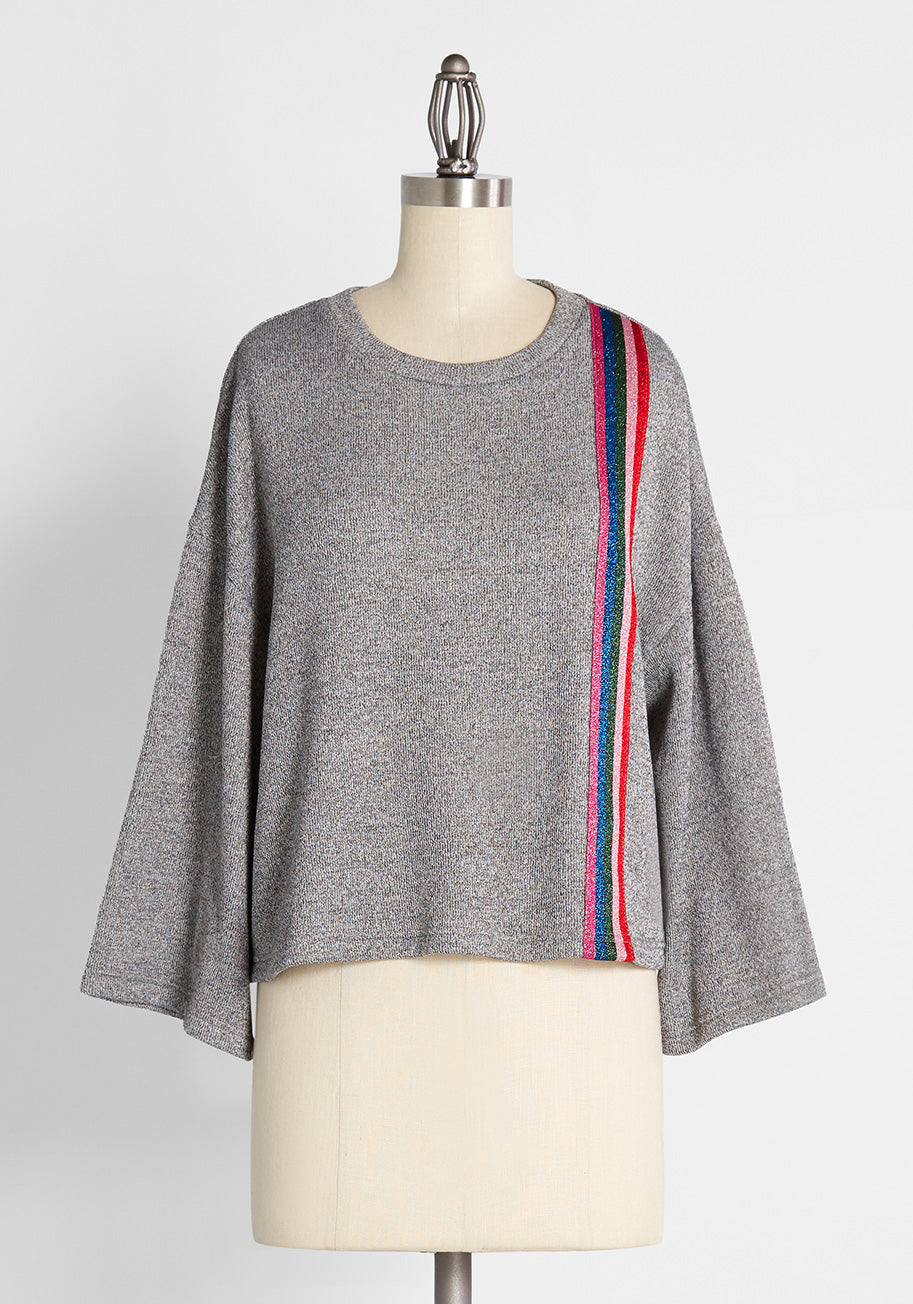 70s Workout Clothes | 80s Tracksuits, Running Shorts, Leotards ModCloth Racing in Rainbow Stripes Knit Top in Grey Size Large $34.99 AT vintagedancer.com