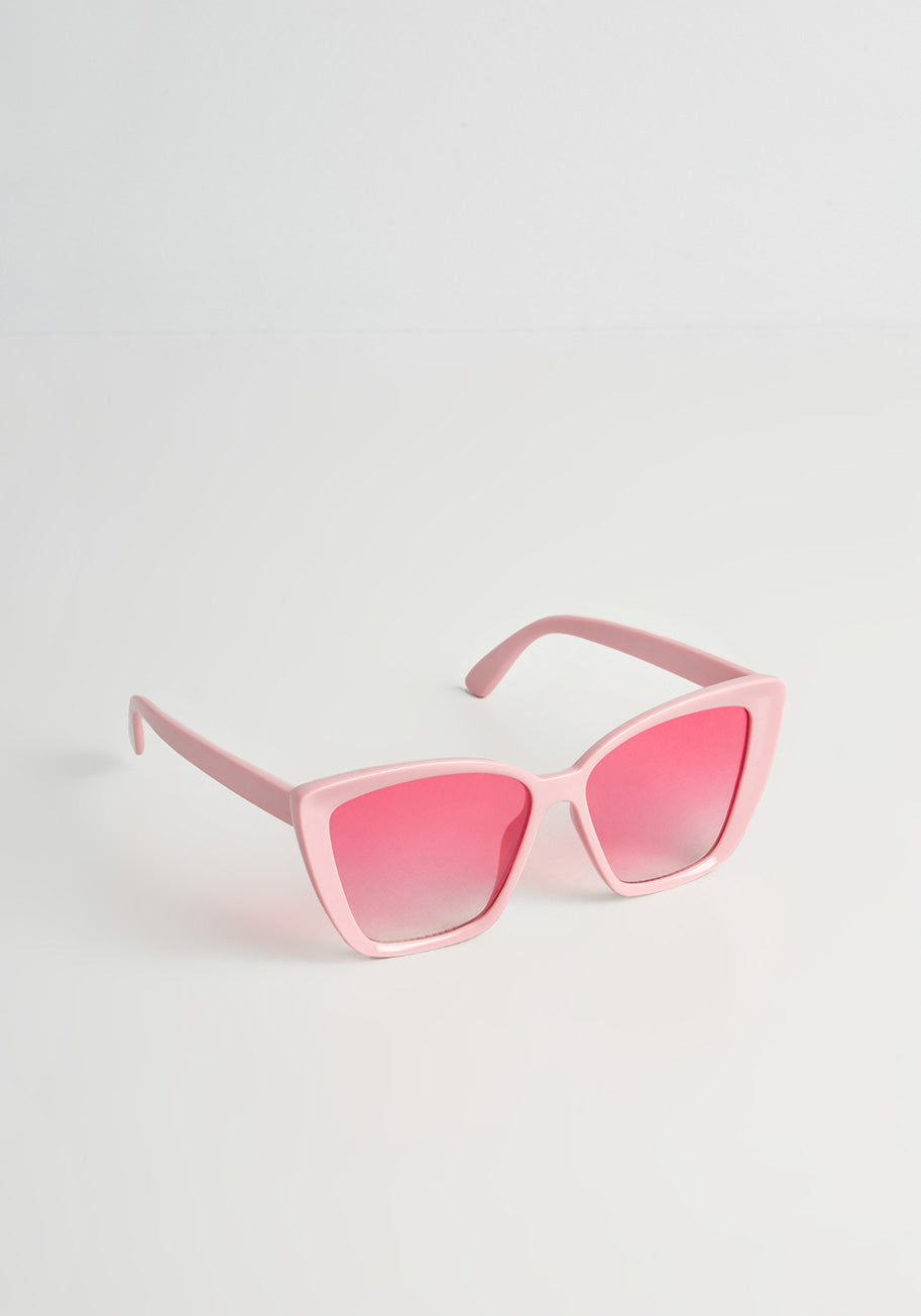 1950s Glasses, Sunglasses History for Women ModCloth Seeing Pretty In Pink Cat-Eye Sunglasses $22.00 AT vintagedancer.com