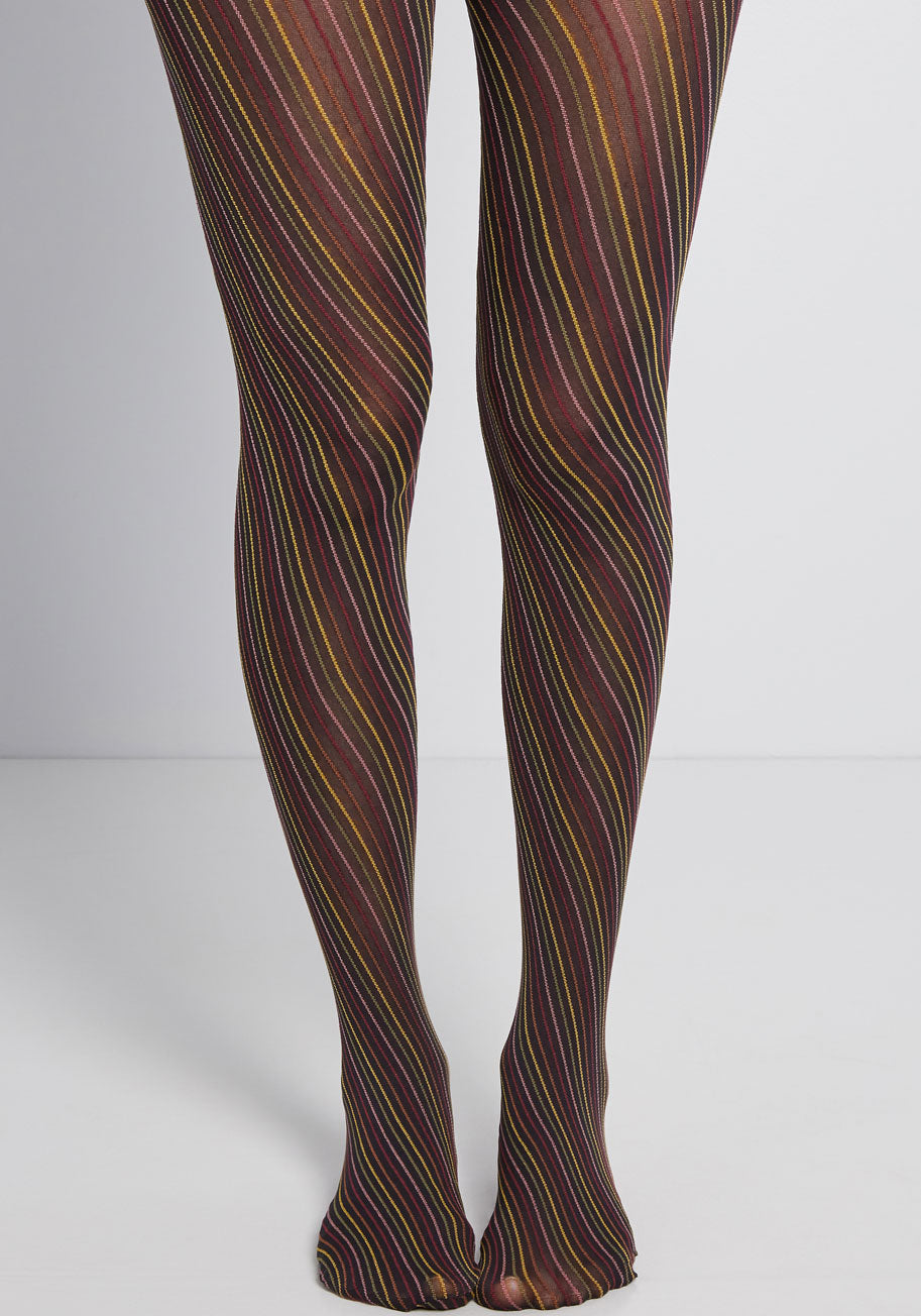 1960s Tights, Stockings, Panty Hose, Knee High Socks ModCloth Easily Intriguing Striped Tights $4.97 AT vintagedancer.com