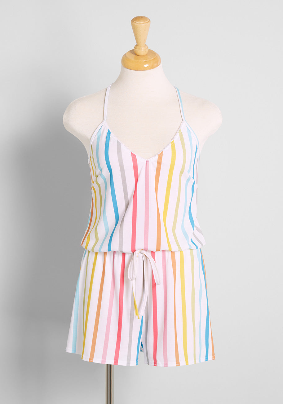 1960s – 1970s Lingerie & Nightgowns ModCloth Easy Does it Sleep Romper in Rainbow Size 4X $49.00 AT vintagedancer.com
