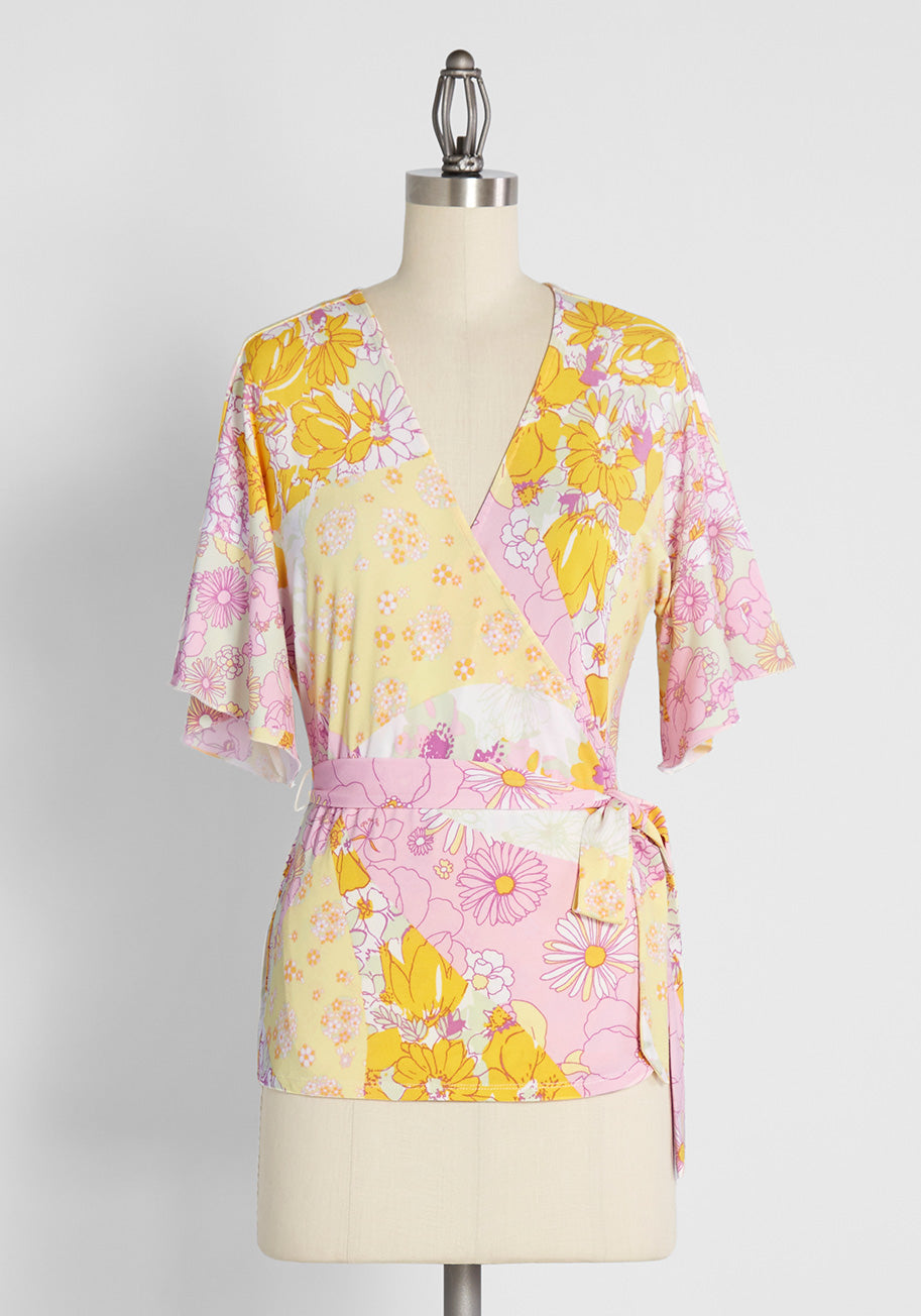 60s Shirts, T-shirts, Blouses, Hippie Shirts ModCloth Flouncing in Floral Fields Wrap Top in Pink Size 4X $19.97 AT vintagedancer.com