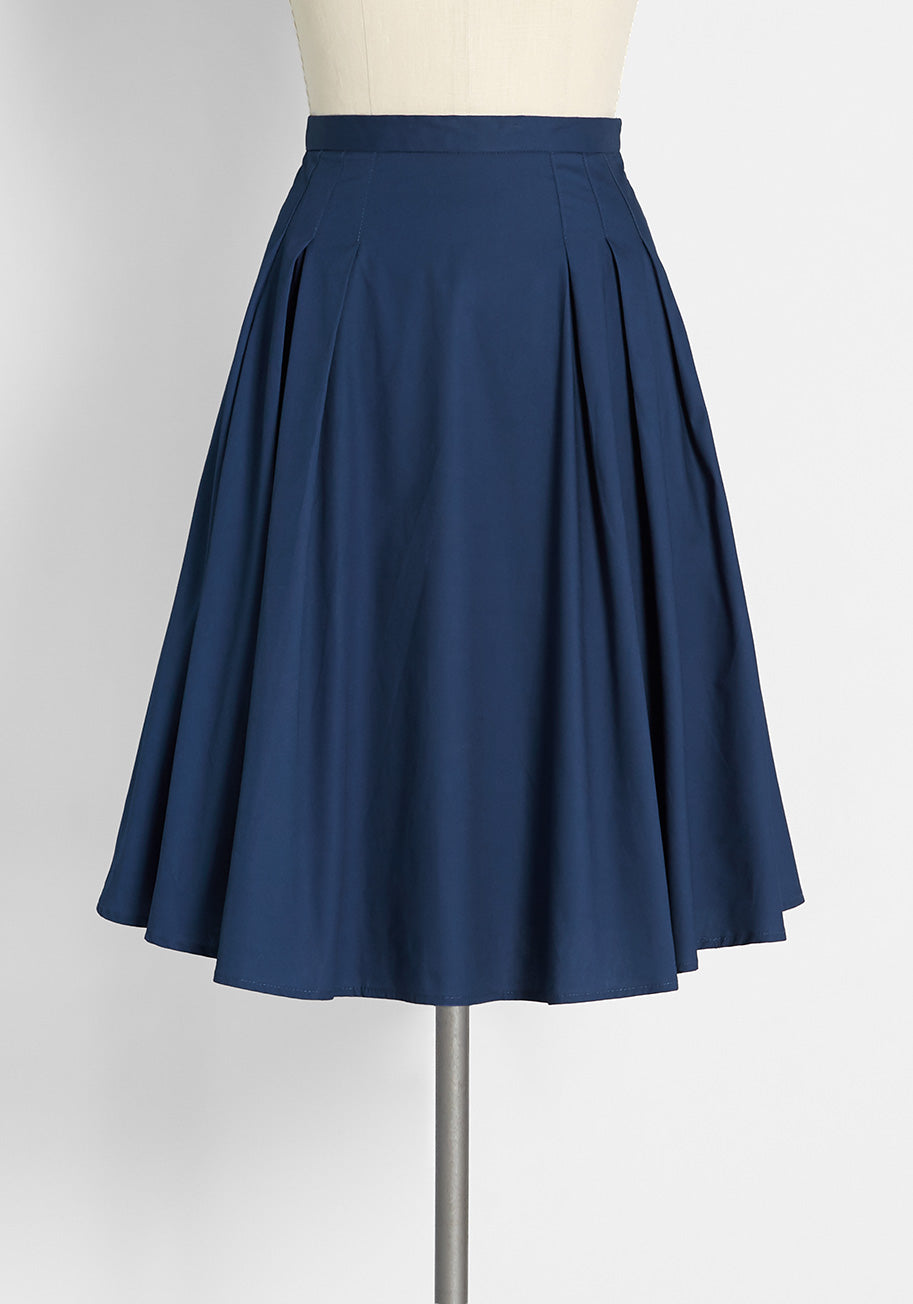 1950s Style Clothing & Fashion Molly Bracken Something to Twirl About Midi Skirt in Navy Size XL $69.00 AT vintagedancer.com