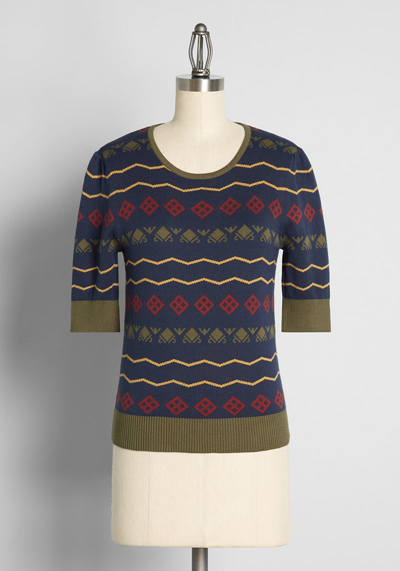 ModCloth x Collectif Pattern of Greatness Fair Isle Knit Top