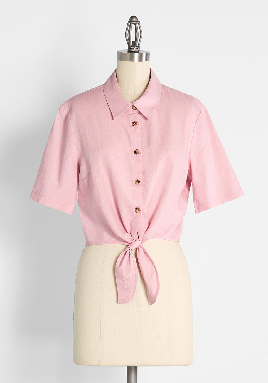 50s Shirts & Tops Princess Highway Cotton Candy Kind Of Day Tie-Waist Top in Pink Size 16 $49.00 AT vintagedancer.com