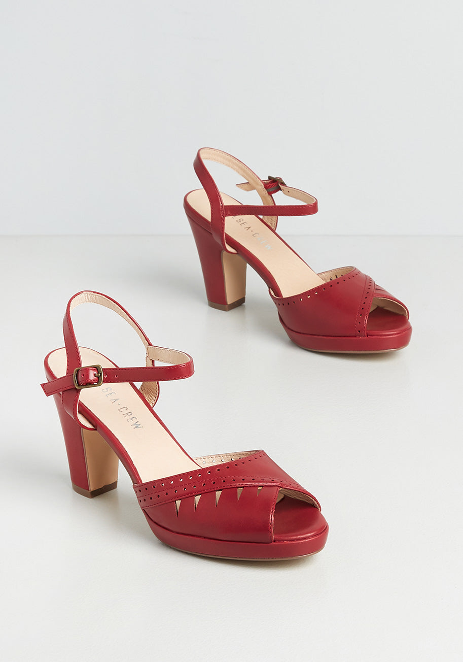 1940s Women's Footwear Chelsea Crew A Cut Above Heels in Red Size 42 $72.00 AT vintagedancer.com