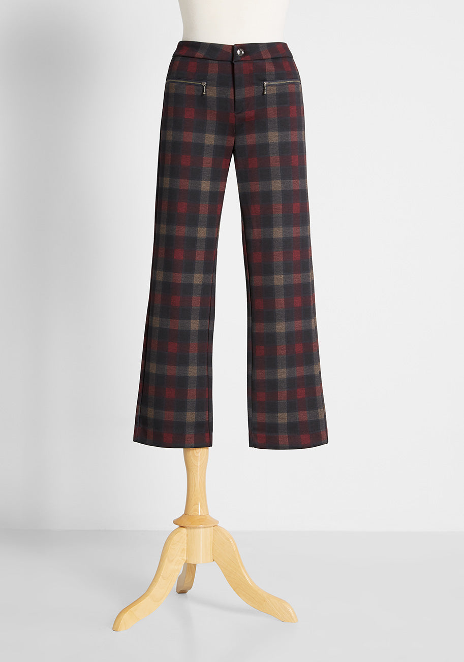 1960s Pants – Top 10 Styles for Women OAT Like Mad Pants in Red Plaid Size 30 $74.99 AT vintagedancer.com