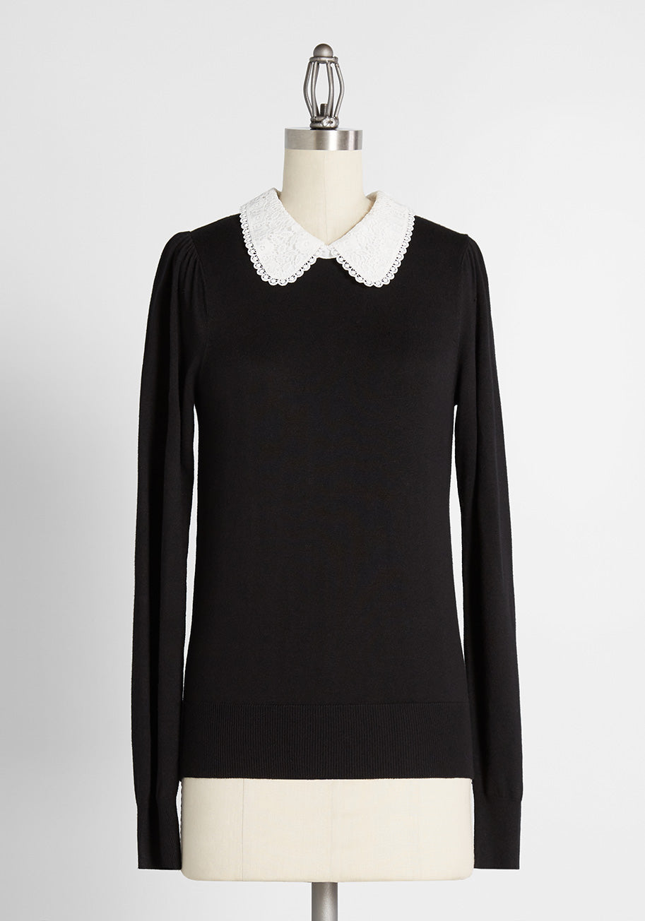 What Did Women Wear in the 1950s? 1950s Fashion Guide ModCloth Delicate And Dapper Pullover Sweater in BlackWhite Size XL $59.00 AT vintagedancer.com