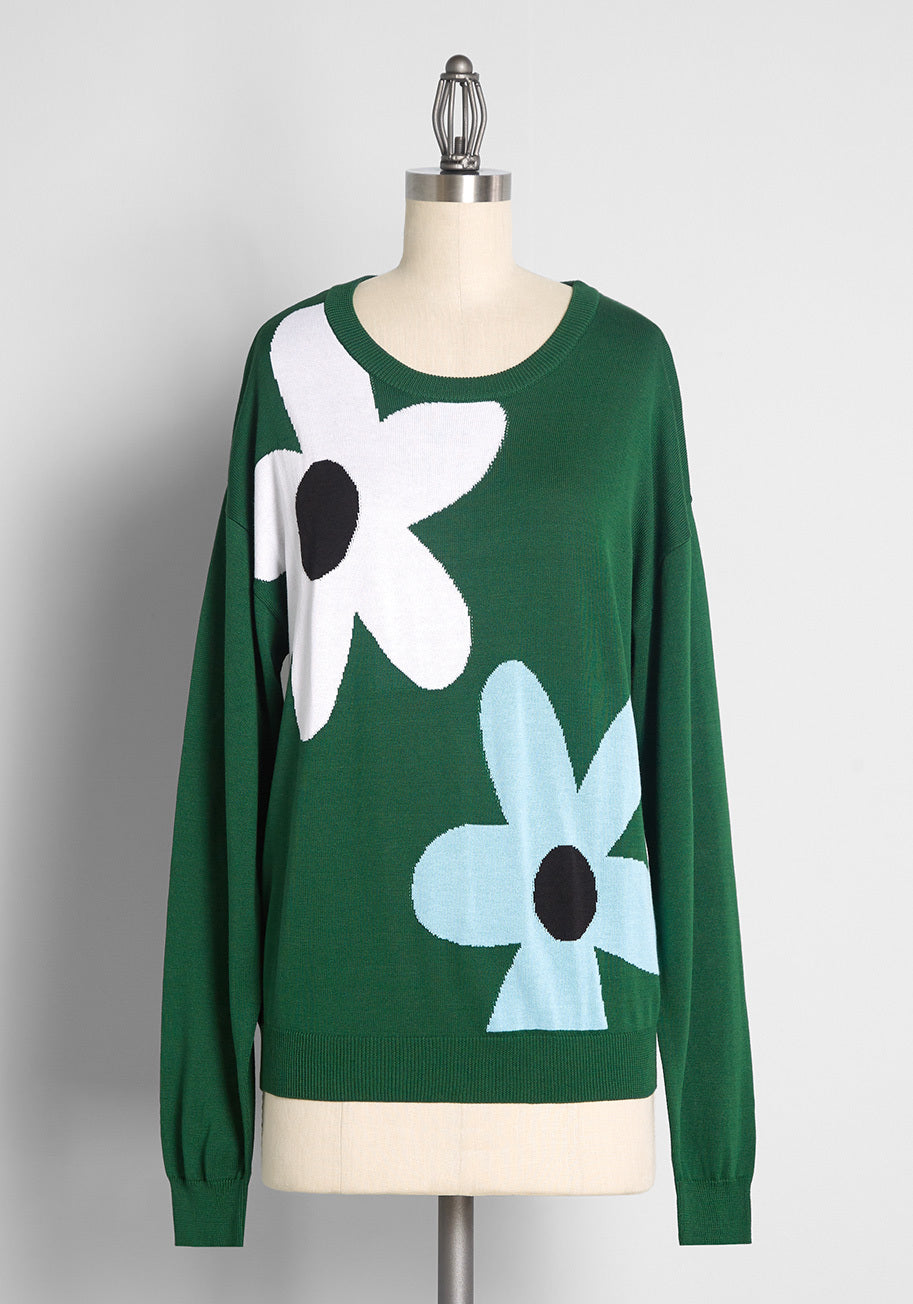 Vintage Sweaters & Cardigans: 1940s, 1950s, 1960s ModCloth Buzzin on Blooms Pullover Sweater in Charlis Daisy Olive Size 4X $59.00 AT vintagedancer.com