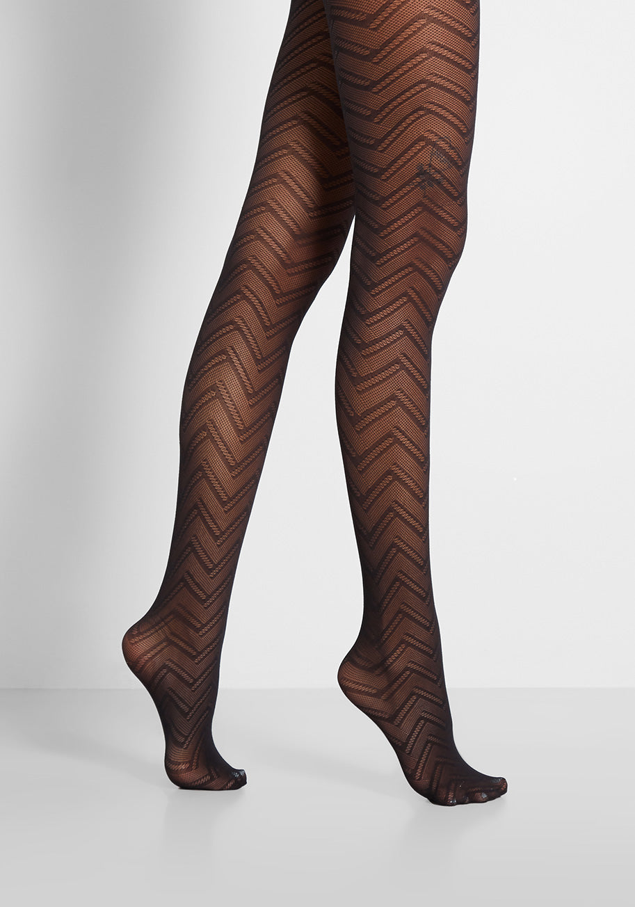 1960s – 1970s Lingerie & Nightgowns ModCloth Art Deco Echo Tights in Black $9.97 AT vintagedancer.com
