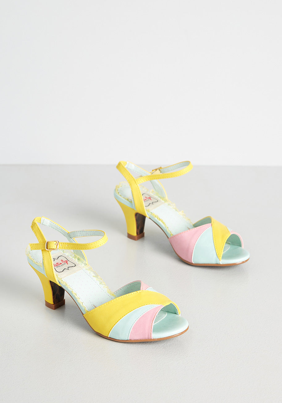 60s Shoes, Go Go Boots   1960s Shoes ModCloth Sorbet Kinda Day Heels in Yellow Size 11 $82.00 AT vintagedancer.com