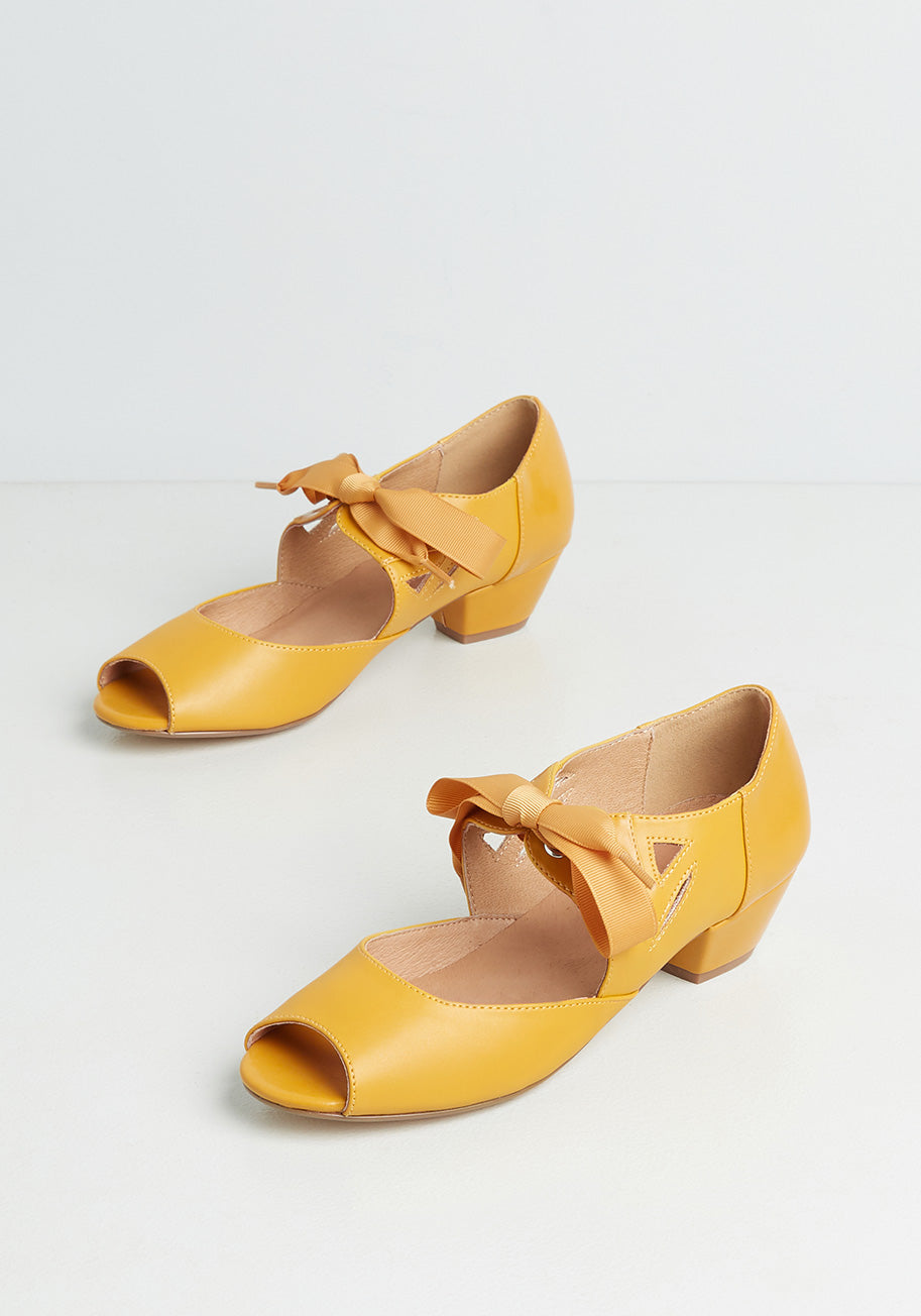 Retro Vintage Flats and Low Heel Shoes Chelsea Crew Major Motion Picturesque Peep-Toe Heels in Yellow Size 42 $59.00 AT vintagedancer.com
