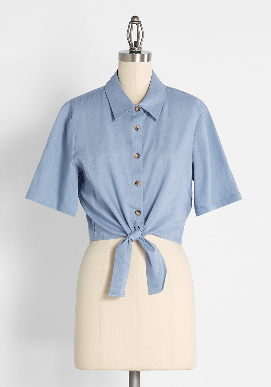 50s Shirts & Tops Princess Highway Cotton Candy Kind Of Day Tie-Waist Top in Blue Size 16 $49.00 AT vintagedancer.com
