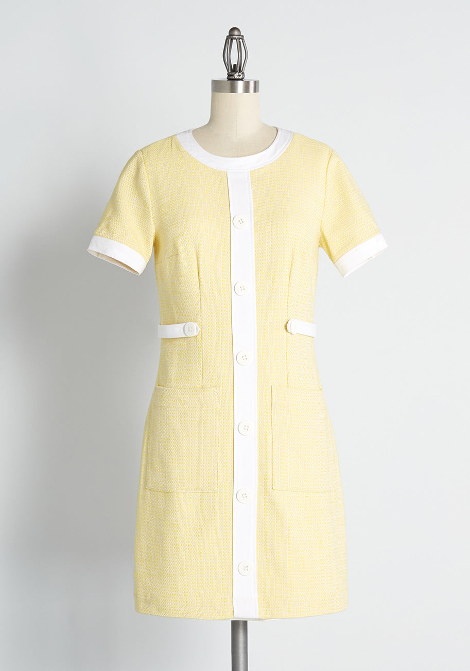 60s Dresses   1960s Dresses Mod, Mini, Hippie ModCloth Height of the Heyday Shift Dress in Yellow Size 14 $69.99 AT vintagedancer.com