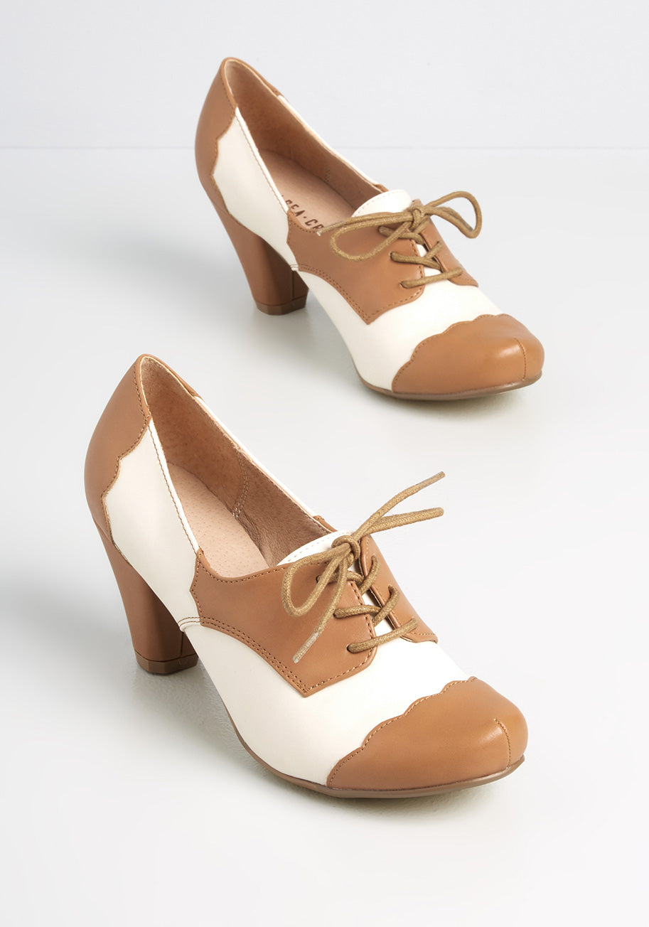 1930s Shoes – Art Deco Shoes, Heels, Boots, Sandals Chelsea Crew Stepping Up My Game Oxford Heels in Tan Size 40 $72.00 AT vintagedancer.com