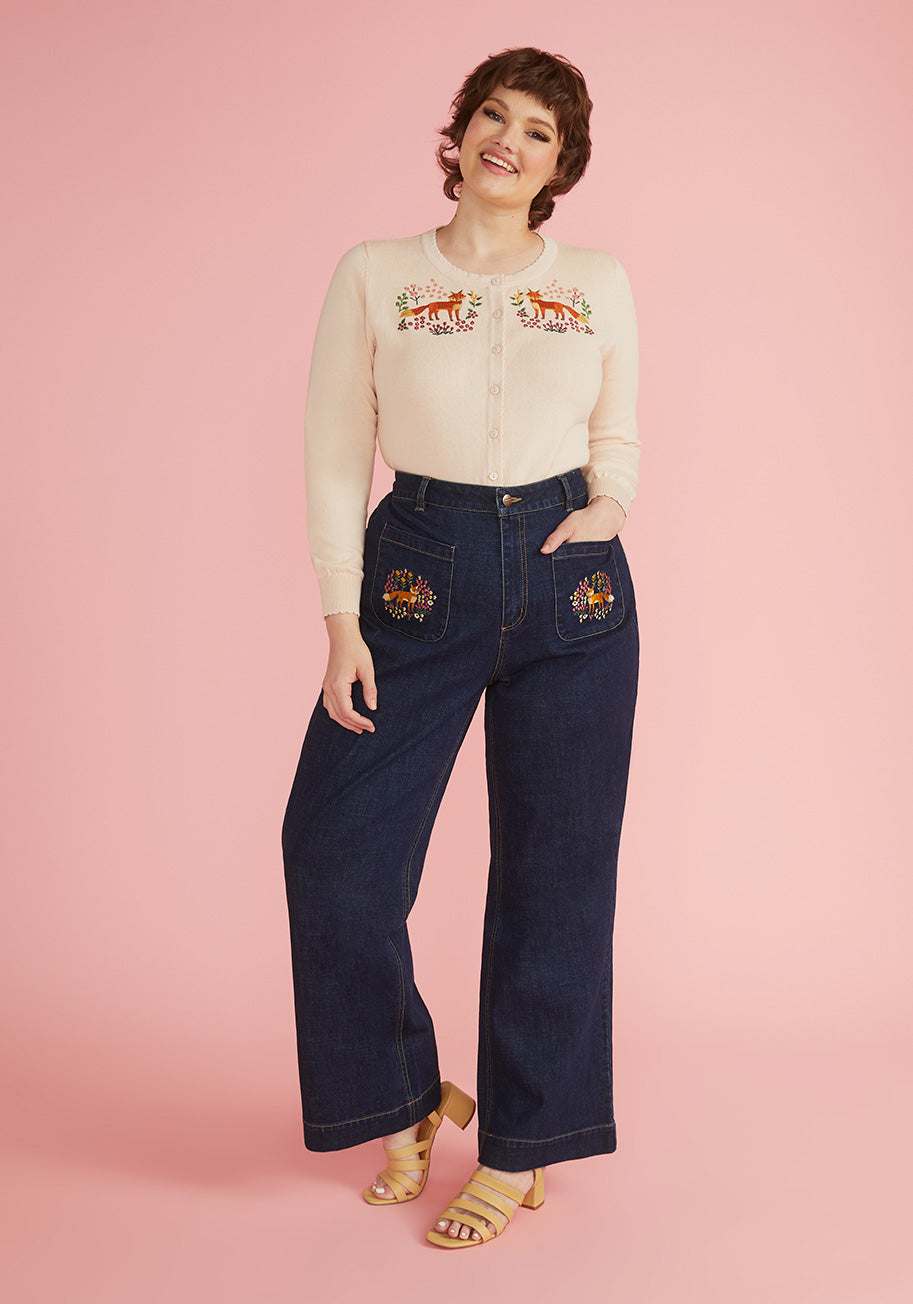 Cottagecore Clothing, Soft Aesthetic ModCloth x Princess Highway Foxy Embroidered Wide-Leg Jeans in Navy Size 28 $79.00 AT vintagedancer.com
