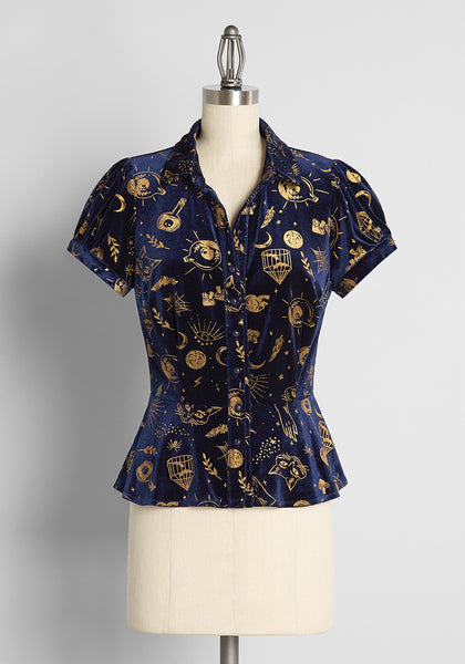 ModCloth x Collectif Spells Like Witch Spirit Velvet Blouse