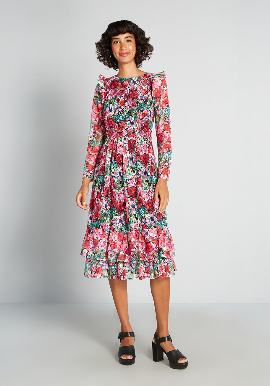 1980s Clothing, Fashion | 80s Style Clothes ModCloth Bouquet and Slay Midi Dress Size 16 $99.00 AT vintagedancer.com