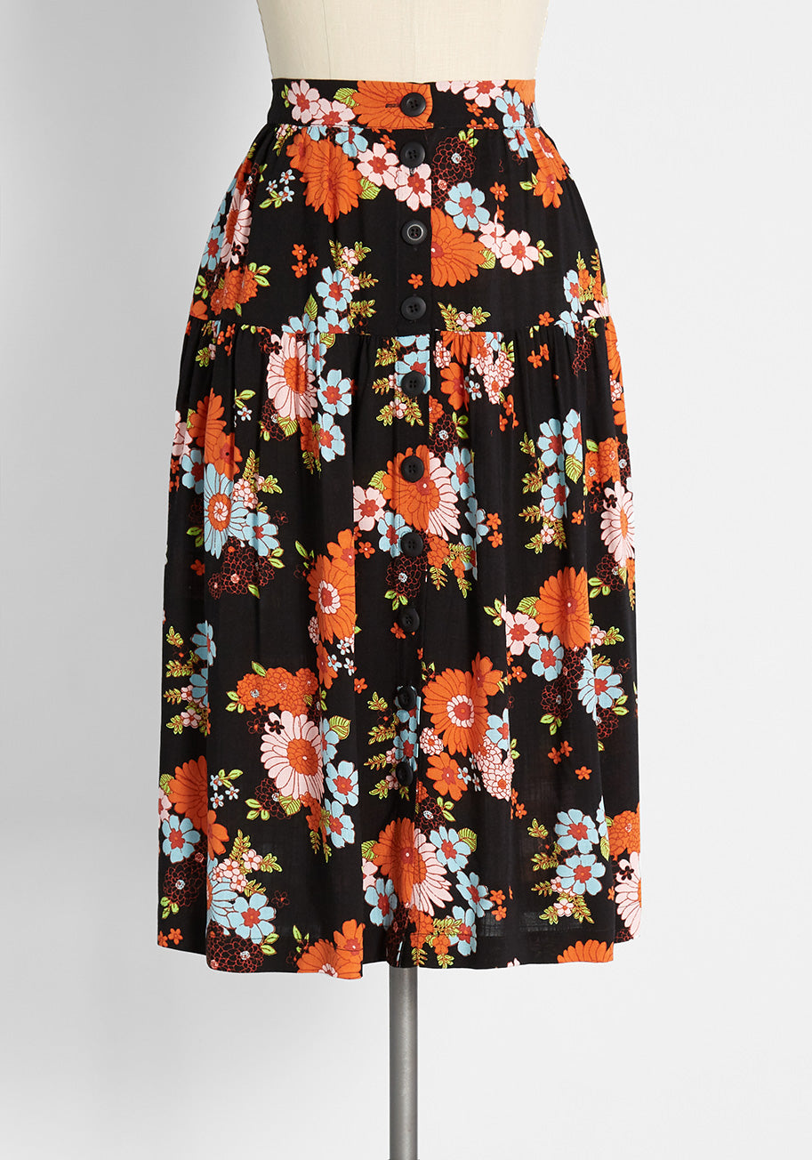 60s Skirts   70s Hippie Skirts, Jumper Dresses ModCloth Daisies At Nightfall Tiered Midi Skirt in Trudy Vintage Floral Black Size 26 W $29.97 AT vintagedancer.com