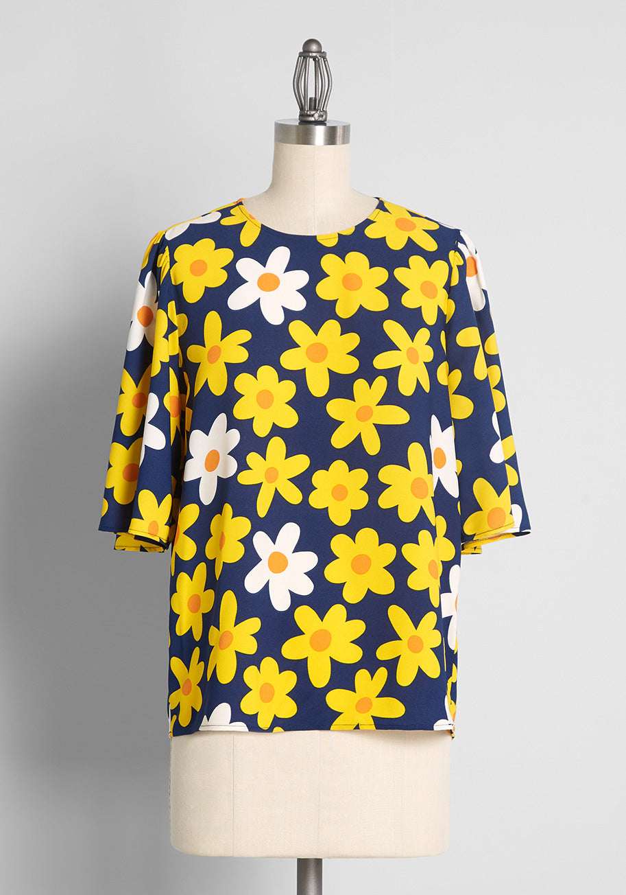 60s Shirts, T-shirts, Blouses, Hippie Shirts ModCloth Retro Round Up Top in Blue Size 4X $49.00 AT vintagedancer.com