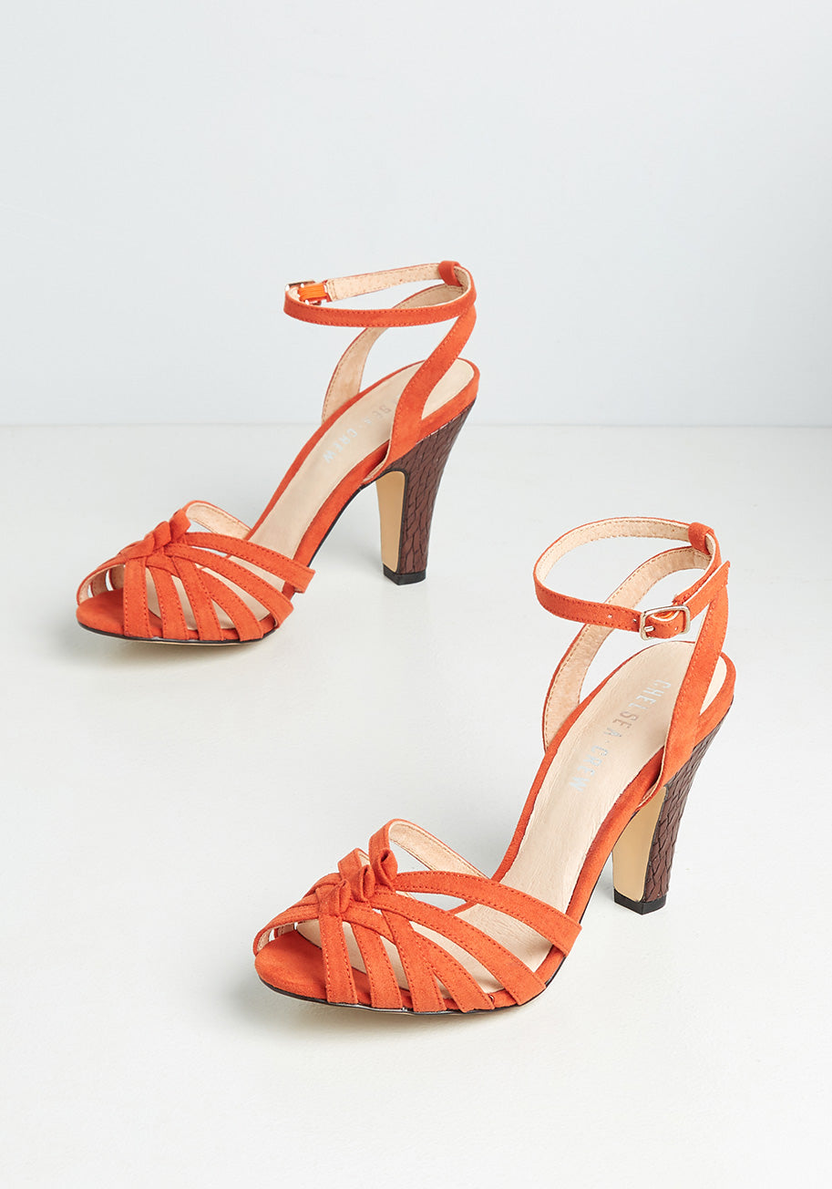 70s Outfits – 70s Style Ideas for Women Chelsea Crew Chic and Repeat Heels in Orange Size 41 $69.00 AT vintagedancer.com