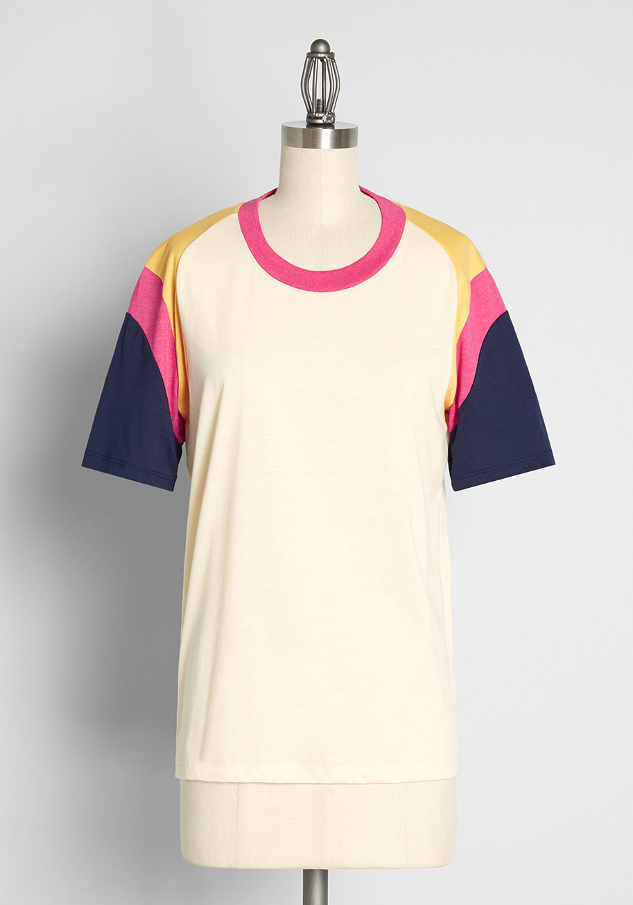Vintage Workout Clothes – Retro Gym Clothes ModCloth x CAMP Collection So Long Summer T-Shirt in White Size 2X $39.00 AT vintagedancer.com