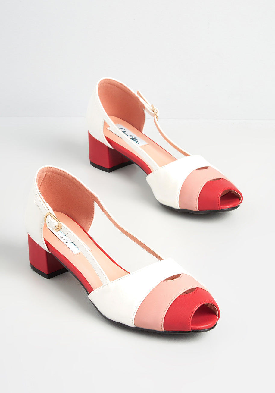 60s Shoes, Go Go Boots Lulu Hun x Collectif A Retro Rendezvous Heels in WhiteRed Size 8 UK $75.00 AT vintagedancer.com