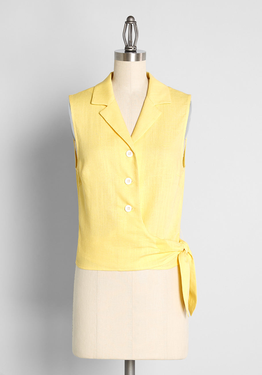 1950s Style Clothing & Fashion ModCloth Sweetness At My Side Sleeveless Top in Butter Size 4X $45.00 AT vintagedancer.com