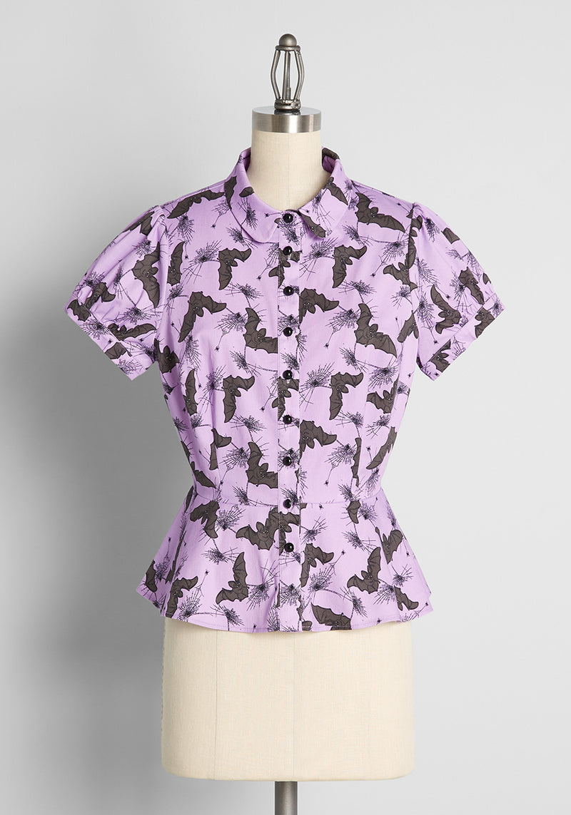 ModCloth x Collectif Feeling 'Scary' Happy Bats Print Blouse