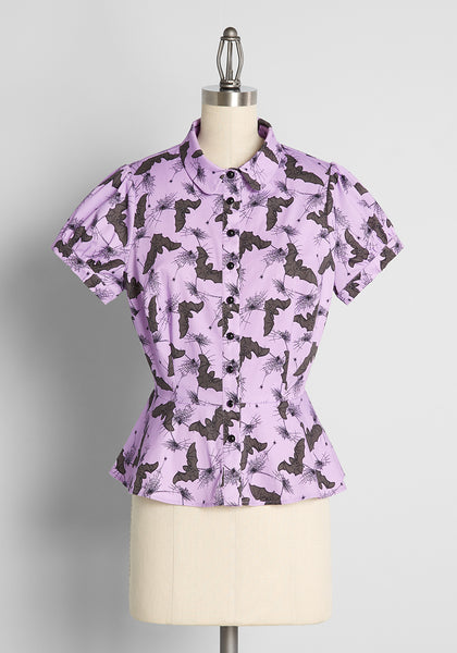 ModCloth x Collectif Feeling 'Scary' Happy Blouse