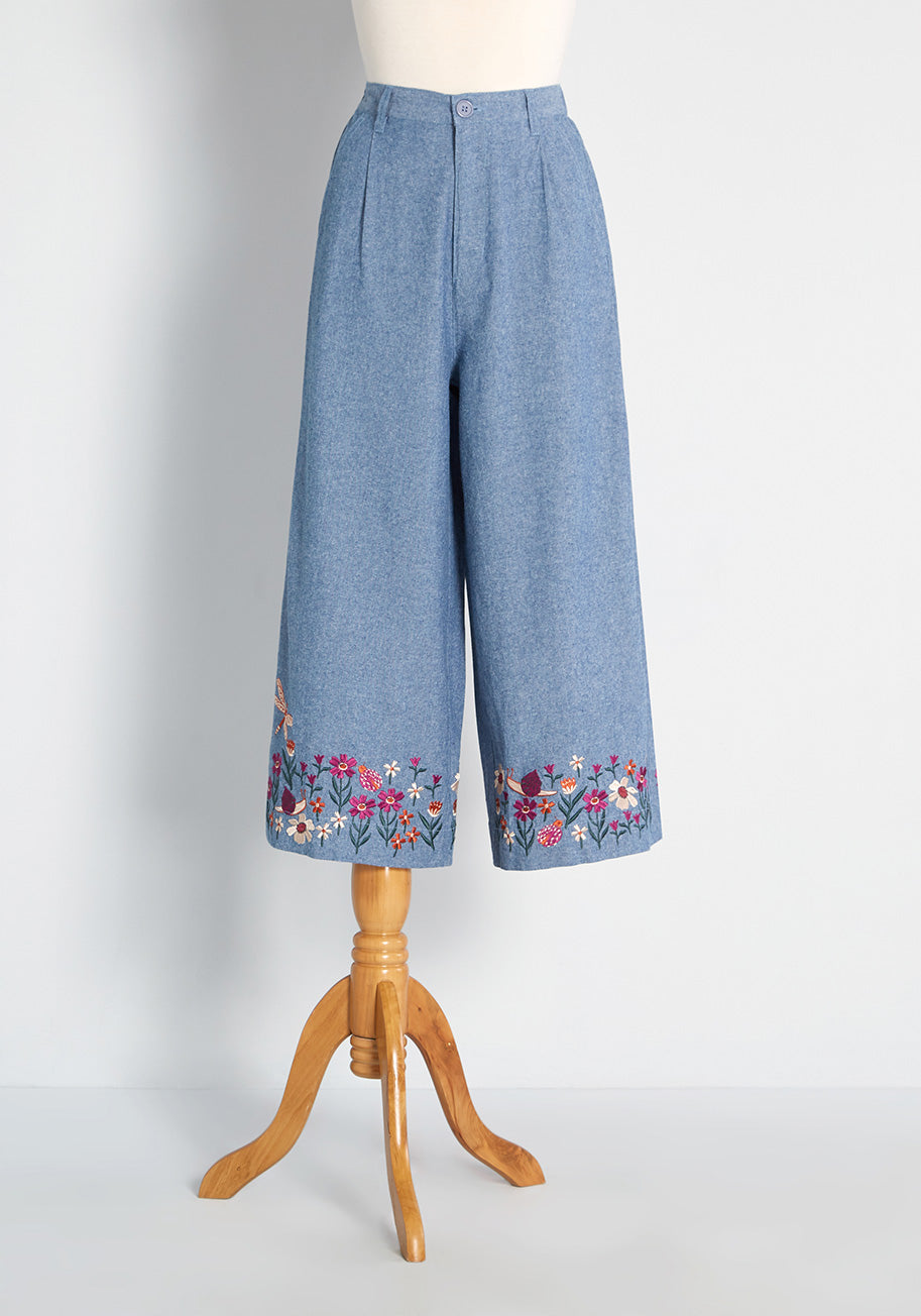 60s Pants, Jeans, Hippie, Flares, Jumpsuits ModCloth x Princess Highway Embroidered Chambray Culottes Top in Denim Size 14 $69.99 AT vintagedancer.com