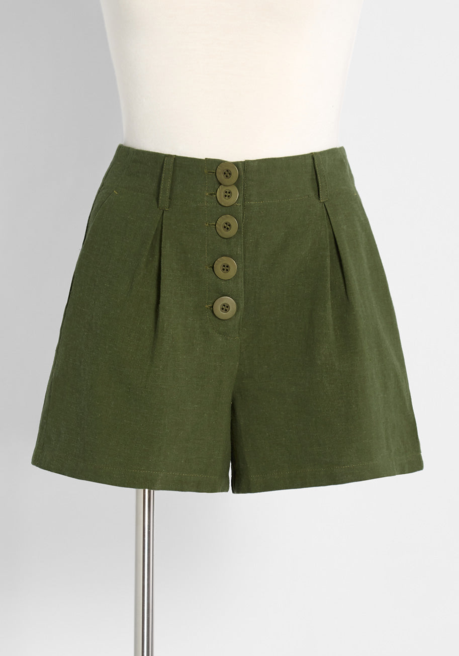 70s Shorts | Denim, High Rise, Athletic ModCloth Hitting the High Tide High-Rise Shorts in Green Size 12 $59.00 AT vintagedancer.com