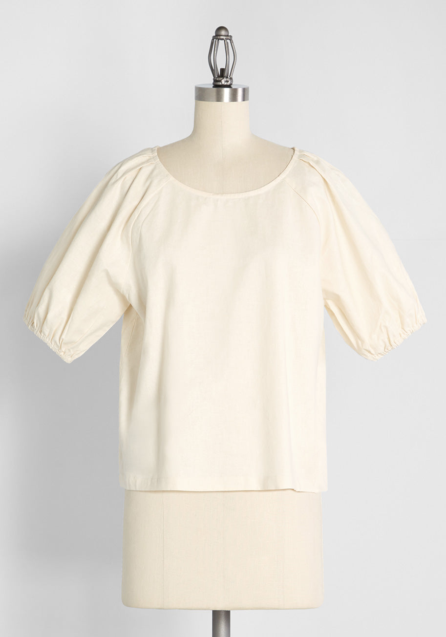 Cottagecore Clothing, Soft Aesthetic ModCloth x Princess Highway Puff Sleeve Top in Cream Size 28 $49.00 AT vintagedancer.com