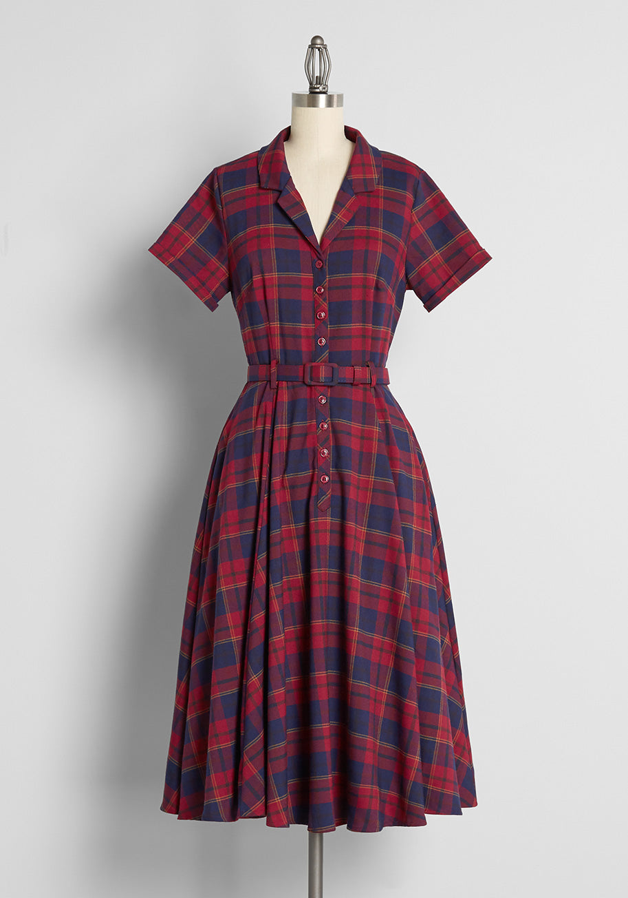 1950s Plus Size Dresses, Swing Dresses ModCloth x Collectif Check Please Swing Dress in Red Size 30 $99.00 AT vintagedancer.com