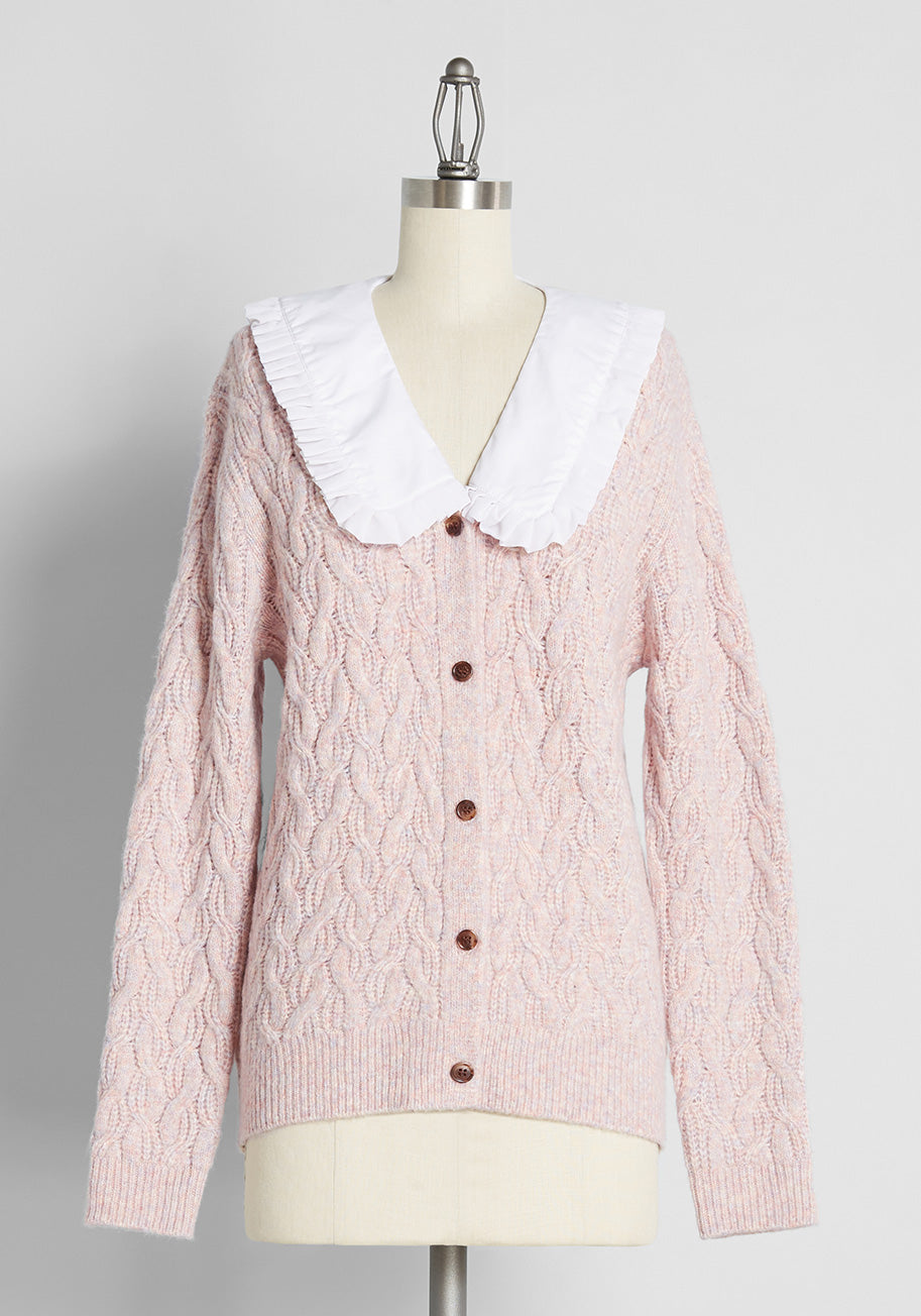1980s Clothing, Fashion | 80s Style Clothes ModCloth Pursuing Whats Precious Collared Cable Knit Cardigan in Purple Size 4X $69.00 AT vintagedancer.com