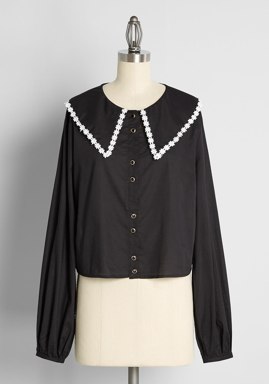 60s Shirts, T-shirts, Blouses, Hippie Shirts ModCloth x Collectif Daisy Persuasion Long Sleeve Blouse in Black Size 30 $59.00 AT vintagedancer.com