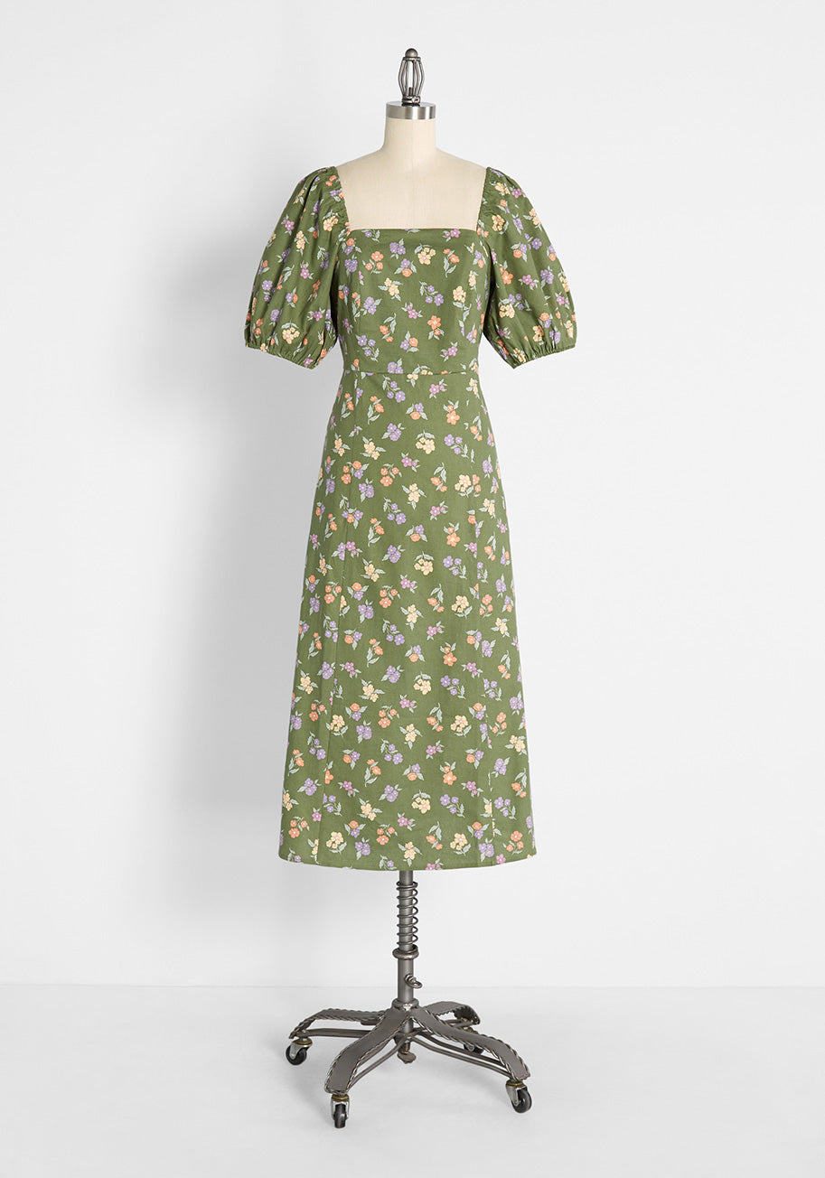 Cottagecore Clothing, Soft Aesthetic Princess Highway Promising In Posies Midi Dress in Green Size 16 $79.00 AT vintagedancer.com