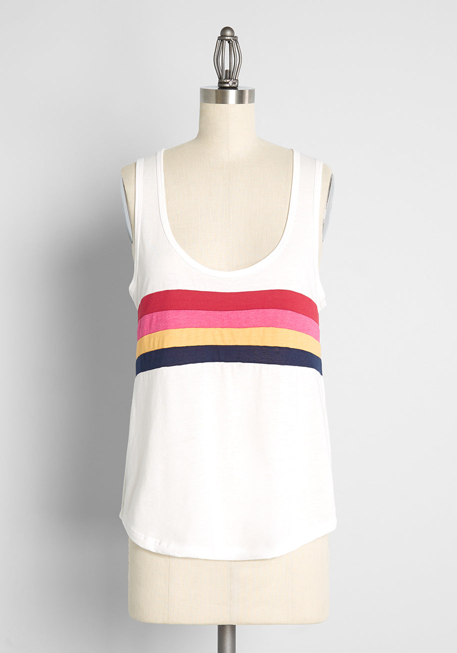 Vintage Workout Clothes – Retro Gym Clothes ModCloth x CAMP Collection Stripes of Summer Tank Top in White Size 2X $35.00 AT vintagedancer.com