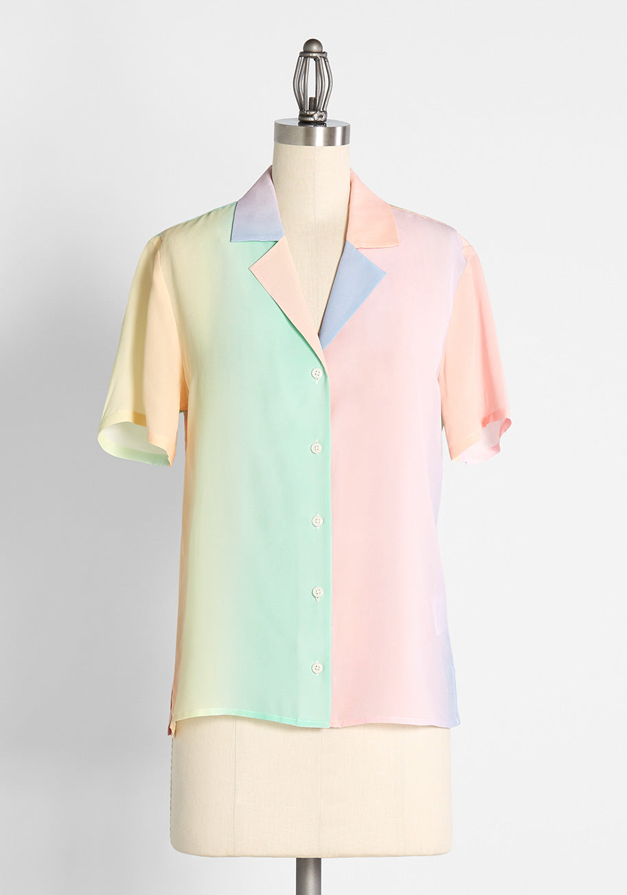 80s Tops, Shirts, T-shirts, Blouse   90s T-shirts ModCloth Call It a Classic Silk Camp Collar Shirt in Ombre Rainbow Size XL $99.00 AT vintagedancer.com