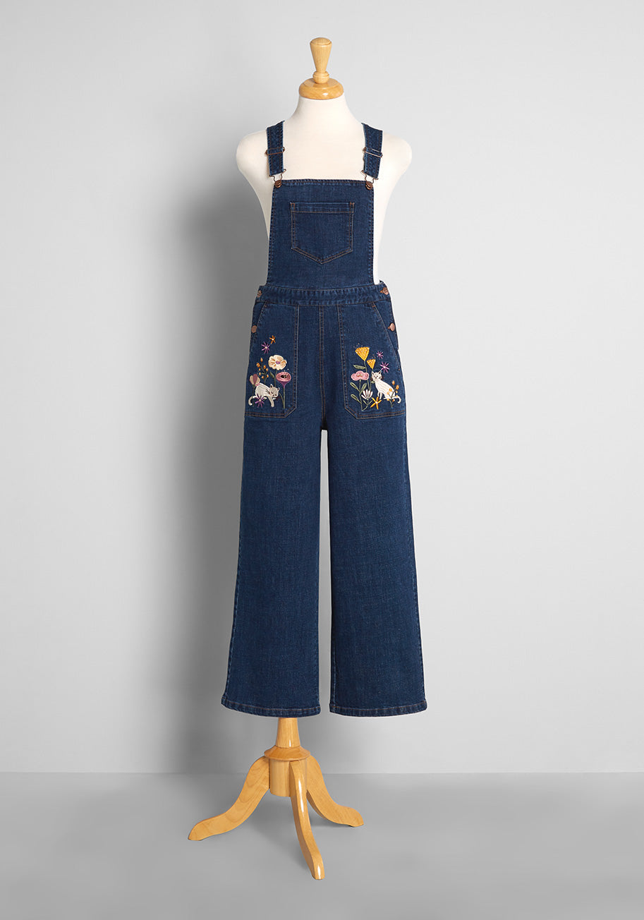 70s Jumpsuit   Disco Jumpsuits, Sequin Rompers ModCloth x Princess Highway Embroidered Overalls in Blue Size 28 $89.00 AT vintagedancer.com