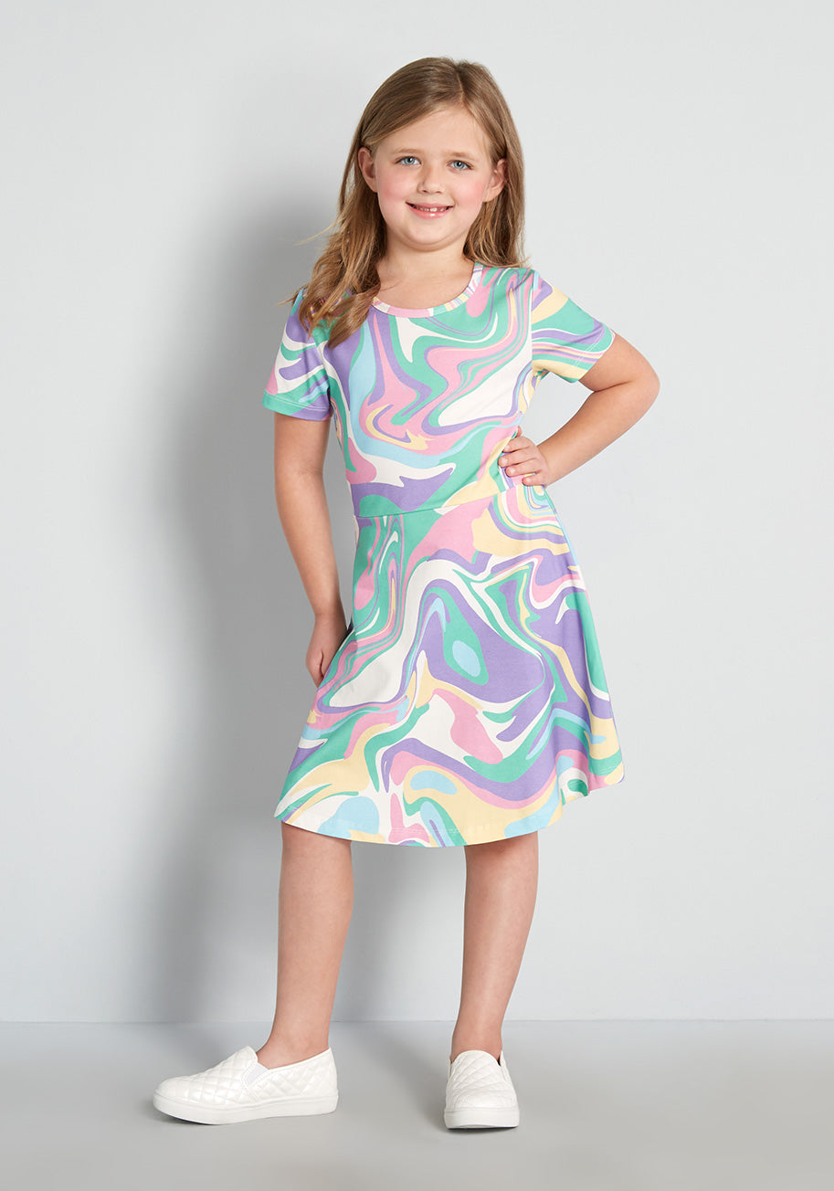 60s 70s Kids Costumes & Clothing Girls & Boys Dangerfield Kids Riding the Rainbow Waves Dress Size 67 $35.00 AT vintagedancer.com