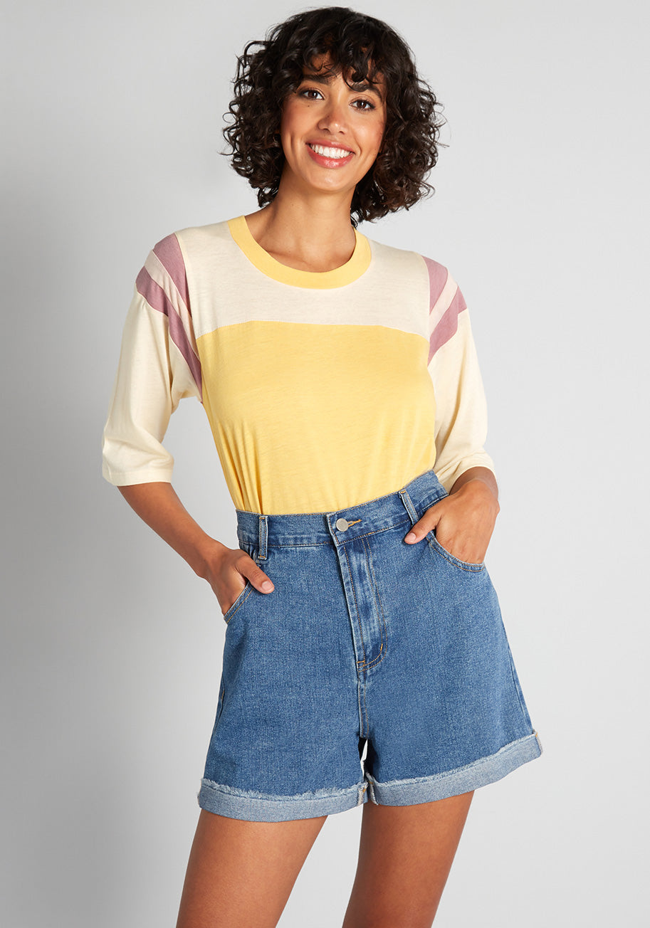 Women's 70s Shirts, Blouses, Hippie Tops CAMP Ready to Play Baseball T-Shirt in Yellow Size 2X $45.00 AT vintagedancer.com