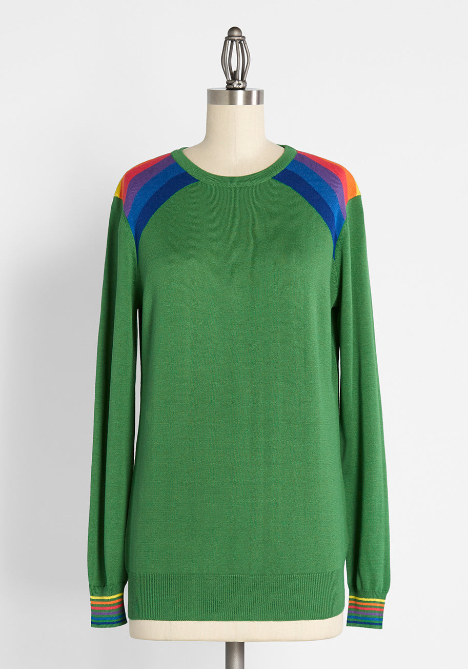 Women's 70s Shirts, Blouses, Hippie Tops Sugarhill Brighton Lucky Rainbows Pullover Sweater in Green Size 14 $69.00 AT vintagedancer.com